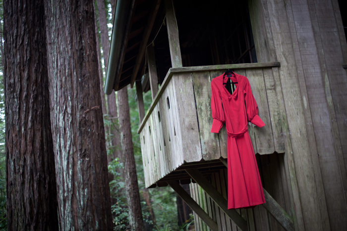 Red wedding dress, wedding dress detail, Jody and Anthony's Mendocino Wedding