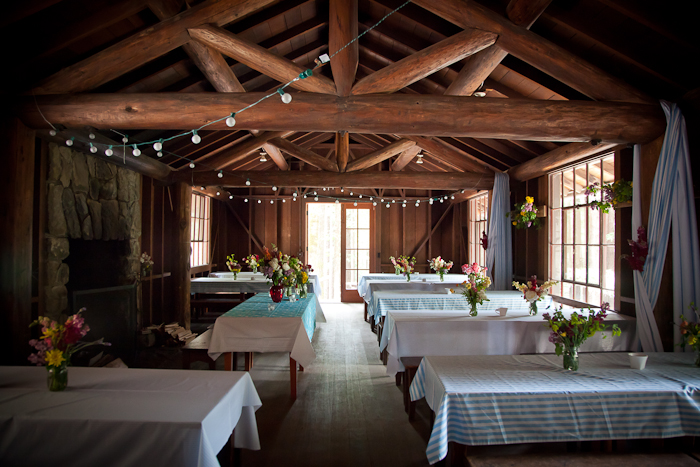 Interior of the dining hall, Jody and Anthony's Mendocino Wedding